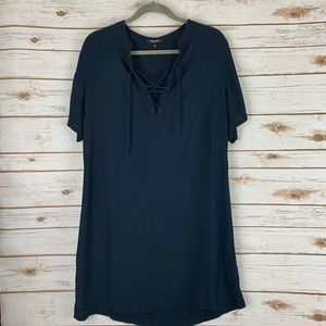 Madewell Short Sleeve Tie Front dress large blue